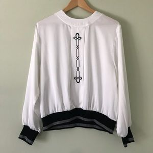 Vintage 80s satin top embroidery scroll white